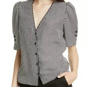 Frame Denim Striped V Neck Silk Blouse Sz M NWT
